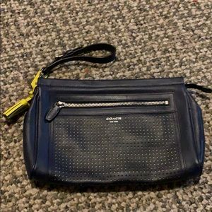 NWOT Coach Navy w/yellow accents large wristlet